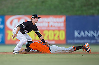 Johneshwy Fargas (10) of the Augusta GreenJackets steals second base ahead of the tag from Bradley Strong (18) of the Kannapolis Intimidators at Intimidators Stadium on May 30, 2016 in Kannapolis, North Carolina.  The GreenJackets defeated the Intimidators 5-3.  (Brian Westerholt/Four Seam Images)