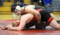 Pennridge's Kyle Gentile, top, has control of Boyertown's Gregg Harvey in the 182 pound match during the Southeast Regional Class AAA wrestling championships at Souderton High School Saturday March 5, 2016 in Franconia, Pennsylvania.  (Photo by William Thomas Cain)