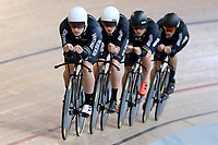 Dylan Kennett, Tom Sexton, Pieter Bulling and Hugo Jones during training, Avantidrome, Home of Cycling, Cambridge, New Zealand, Friday, March 17, 2017. Mandatory Credit: © Dianne Manson/CyclingNZ  **NO ARCHIVING**