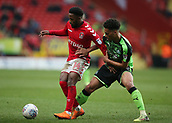 24th March 2018, The Valley, London, England;  English Football League One, Charlton Athletic versus Plymouth Argyle; Zak Vyner of Plymouth Argyle puts pressure on Tariqe Fosu of Charlton Athletic