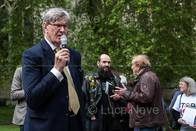 Bill Cash MP (British Conservative Member of Parliament for Stone).<br /> <br /> London, 28/04/2014. To mark the vote, taking place in the House of Commons (expected around 22:00), for the second reading of the HS2 Hybrid Bill, protesters gathered outside the Houses of Parliament to demonstrate against the 50 billion pounds high speed rail project which will connect London Euston to Birmingham City Centre.   <br />    <br /> For more information please click here: http://stophs2.org/