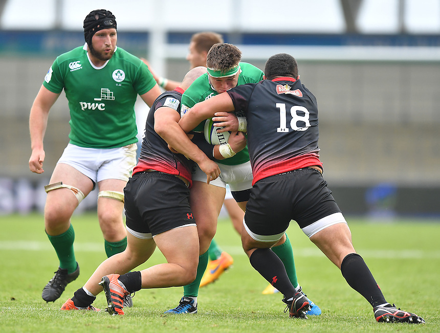 Ireland's Andrew Porter is tackled by Georgia's Giorgi Melikidze and Lado Miminoshvili<br /> <br /> Photographer Dave Howarth/CameraSport<br /> <br /> International Rugby Union - U20 World Rugby Championships 2016 - Pool B - Match 17 - Pool A Ireland U20 v Georgia U20 - Wednesday 15th June 2016 - Manchester City Academy Stadium - Manchester<br /> <br /> World Copyright &copy; 2016 CameraSport. All rights reserved. 43 Linden Ave. Countesthorpe. Leicester. England. LE8 5PG - Tel: +44 (0) 116 277 4147 - admin@camerasport.com - www.camerasport.com<br /> <br /> Photographer Stephen White/CameraSport<br /> <br /> International Rugby Union - U20 World Rugby Championships 2016 - Pool C France U20 v Argentina U20 - Match 1 - Tuesday 07th June 2016 - AJ Bell Stadium - Salford - England<br /> <br /> World Copyright &copy; 2016 CameraSport. All rights reserved. 43 Linden Ave. Countesthorpe. Leicester. England. LE8 5PG - Tel: +44 (0) 116 277 4147 - admin@camerasport.com - www.camerasport.com