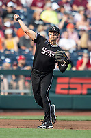 Mississippi State Bulldogs third baseman Marshall Gilbert (34) makes a throw to first base during Game 4 of the NCAA College World Series against the Auburn Tigers on June 16, 2019 at TD Ameritrade Park in Omaha, Nebraska. Mississippi State defeated Auburn 5-4. (Andrew Woolley/Four Seam Images)
