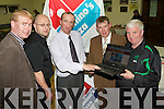 WEB-SITE LAUNCH: Launching the Kerry District League new Web Site at Mounthawk Park on Friday l-r: John O'Rourke (Umbro), Cathal McDonnell (Domino's Pizza), Frank Ryan (Denny), Sean O'Keeffe (Chairman KDL) and John O'Regan (Hon secretary KDL).