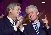 """Former United States President Bill Clinton, wearing a button that says """"Hillary"""" in Hebrew, shares some thoughts with US Secretary of Agriculture Tom Vlsack during the third session of the 2016 Democratic National Convention at the Wells Fargo Center in Philadelphia, Pennsylvania on Wednesday, July 27, 2016.<br /> Credit: Ron Sachs / CNP<br /> (RESTRICTION: NO New York or New Jersey Newspapers or newspapers within a 75 mile radius of New York City)"""