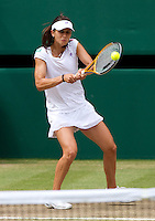 Tsvetana Pironkova (BUL) against Vera Zvonareva (RUS) (21) in the semi-finals of the ladies singles. Vera Zvonareva beat Tsvetana Pironkova 3-6 6-3 6-2    ..Tennis - Wimbledon Lawn Tennis Championships - Day 10 Thur 1st Jul 2010 -  All England Lawn Tennis and Croquet Club - Wimbledon - London - England..© FREY - AMN IMAGES  Level 1, Barry House, 20-22 Worple Road, London, SW19 4DH.TEL - +44 (0) 20 8947 0100.Email - mfrey@advantagemedianet.com.www.advantagemedianet.com