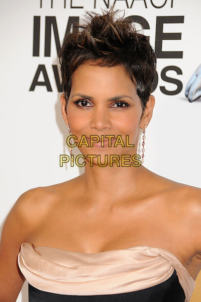 Halle Berry.44th NAACP Image Awards - Arrivals held at the Shrine Auditorium, Los Angeles, California, USA, .1st February 2013..portrait headshot black beige silk satin strapless cleavage earrings dangly .CAP/ADM/BP.©Byron Purvis/AdMedia/Capital Pictures.