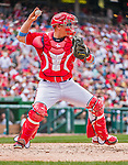 21 June 2015: Washington Nationals catcher Jose Lobaton in action against the Pittsburgh Pirates at Nationals Park in Washington, DC. The Nationals defeated the Pirates 9-2 to sweep their 3-game weekend series, and improve their record to 37-33. Mandatory Credit: Ed Wolfstein Photo *** RAW (NEF) Image File Available ***