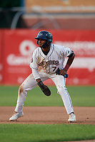 Mahoning Valley Scrappers Korey Holland (7) leads off during a NY-Penn League game against the Hudson Valley Renegades on July 15, 2019 at Eastwood Field in Niles, Ohio.  Mahoning Valley defeated Hudson Valley 6-5.  (Mike Janes/Four Seam Images)