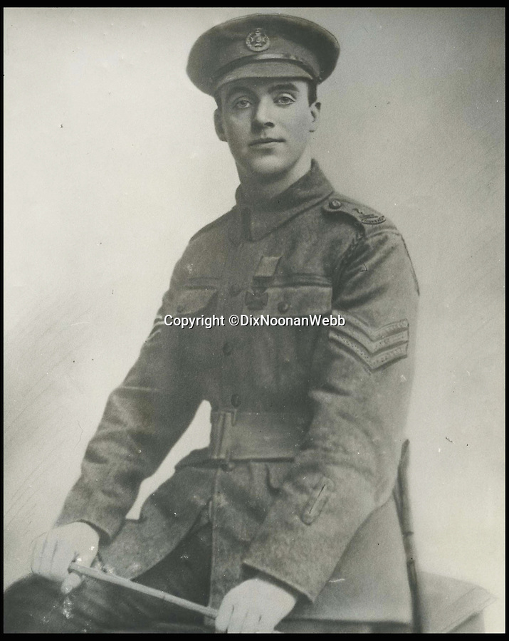 BNPS.co.uk (01202 558833)<br /> Pic: DixNoonanWebb/BNPS<br /> <br /> A photograph of George Sanders.<br /> <br /> A Victoria Cross awarded to a hero British soldier on the first day of the Somme is being sold by his family for £220,000 over 100 years later.<br /> <br /> Corporal George Sanders led a band of 30 men in repelling repeated German attacks over two days after a communications break down left them cut off in an enemy trench.<br /> <br /> For nearly two days without any food or water, he drove off a raid by the enemy which required hand-to-hand combat using bayonets and then stood firm against two strong bombing attacks.<br /> <br /> His Victoria Cross and Military Cross have been passed down through the family and are now to be sold for the very first time at London auctioneers Dix Noonan Webb.