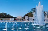 National World War II Memorial, Water Fountain, Framing the Lincoln Memorial, West Potomac Park