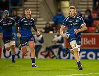 8th November 2019; AJ Bell Stadium, Salford, Lancashire, England; English Premiership Rugby, Sale Sharks versus Coventry Wasps; Dan du Preez of Sale Sharks runs in a try - Editorial Use