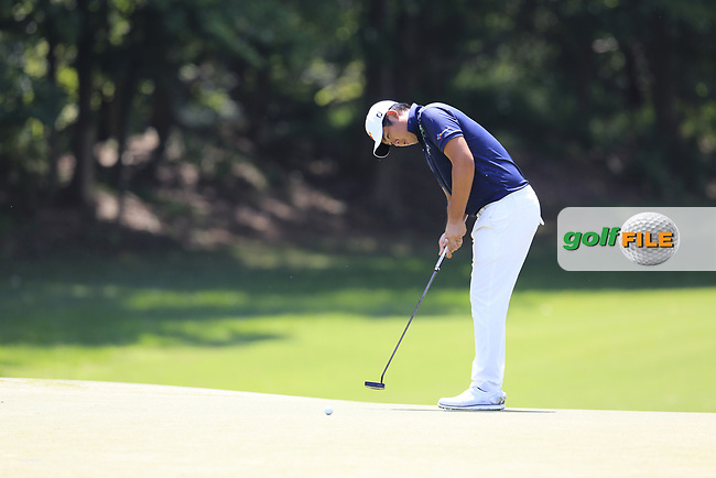 Byeong Hun An (KOR) putts on the 12th green during Thursday's Round 1 of the 2017 PGA Championship held at Quail Hollow Golf Club, Charlotte, North Carolina, USA. 10th August 2017.<br /> Picture: Eoin Clarke | Golffile<br /> <br /> <br /> All photos usage must carry mandatory copyright credit (&copy; Golffile | Eoin Clarke)