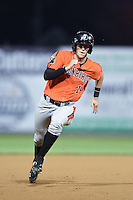 Aberdeen IronBirds second baseman Stephen Wilkerson (14) running the bases during a game against the Williamsport Crosscutters on August 4, 2014 at Bowman Field in Williamsport, Pennsylvania.  Aberdeen defeated Williamsport 6-3.  (Mike Janes/Four Seam Images)
