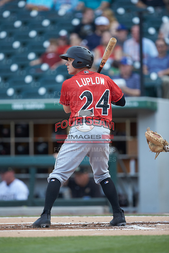 Jordan Luplow (24) of the Indianapolis Indians at bat against the Charlotte Knights at BB&T BallPark on May 26, 2018 in Charlotte, North Carolina. The Indians defeated the Knights 6-2.  (Brian Westerholt/Four Seam Images)