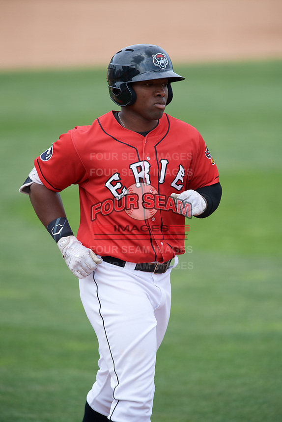 Erie SeaWolves left fielder Christin Stewart (35) jogs home after hitting a home run in the bottom of the fifth inning during a game against the Hartford Yard Goats on August 6, 2017 at UPMC Park in Erie, Pennsylvania.  Erie defeated Hartford 9-5.  (Mike Janes/Four Seam Images)