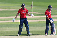 Daniel Lawrence on Essex raises his bat to celebrate reaching his fifty during Essex Eagles vs Kent Spitfires, Royal London One-Day Cup Cricket at The Cloudfm County Ground on 6th June 2018