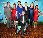 (L-R) Billy Magnussen, Genevieve Angelson, Sigourney Weaver, playwright Christopher Durang, David Hyde Pierce, Kristine Nielsen, and Shalita Grant attending the Broadway Opening Night Performance after party for  'Vanya and Sonia and Masha and Spike' at the Gotham Hall in New York City on 3/14/2013.
