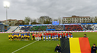 20180410 - FERRARA , ITALY : illustration picture shows both team line ups ahead of the female soccer game between Italy and the Belgian Red Flames , the fifth game in the qualificaton for the World Championship qualification round in group 6 for France 2019, Tuesday 10 th April 2018 at Stadio Paolo Mazza / Stadio Comunale in Ferrara , Italy . PHOTO SPORTPIX.BE | DAVID CATRY