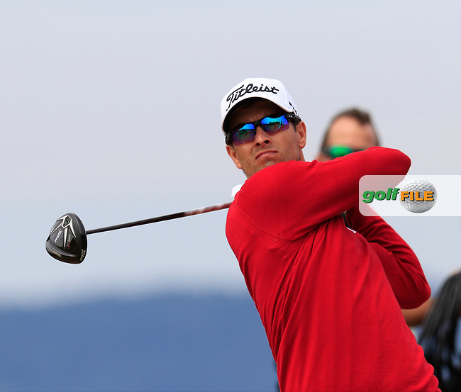 Adam Scott (AUS) tees off the 18th tee during Thursday's Round 1 of the 2015 U.S. Open 115th National Championship held at Chambers Bay, Seattle, Washington, USA. 6/18/2015.<br /> Picture: Golffile | Eoin Clarke<br /> <br /> <br /> <br /> <br /> All photo usage must carry mandatory copyright credit (&copy; Golffile | Eoin Clarke)