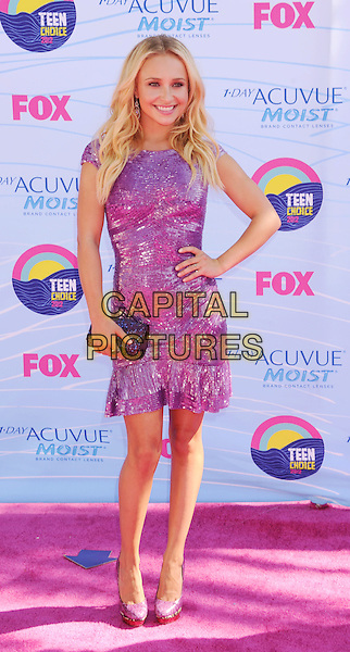 Hayden Panettiere.FOX's 2012 Teen Choice Awards held at The Gibson Ampitheatre in Universal City, California, USA..July 22nd, 2012.full length dress purple sequins sequined smiling hand on hip clutch bag shoes .CAP/ROT/TM.©Tony Michaels/Roth Stock/Capital Pictures