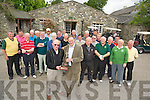Jerome O'Shea, Beaufort and London GAA golf society, pictured as he made a presentation to Frank Coffey, president Beaufort Golf Club, during a visit by the board to the club on Wednesday. Also pictured are Denis Brosnan, Adrian Woulfe, Brendan Breen, Rick Thorsen, Ned O'Keeffe, Sean Coffey, Gordian McLean, Colm Kelly, Jerry Fitzgerald, John O'Gorman, Peter Argue, James O'Connell, Pat Williams, John O'Neill, Tim Foley, Jerry Vaughan, Eamon Lyons, Pat McNicholas, Paddy Cowan, Matt Shine, Tony Millne, Tom Millne and Mick Sheilds.....................