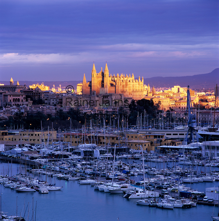 Spain, Balearic Islands, Spain, Mallorca, Palma de Mallorca: View over marina/harbour to the floodlit Cathedral (La Seu) at sunset | Spanien, Palma de Mallorca: mit Kathedrale La Seu und Hafen bei Sonnenuntergang