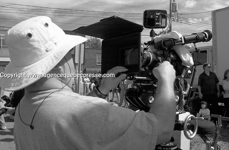 August 19 , 2002, Montreal, Quebec, Canada<br /> <br /> Shooting of thee TV serie about bikers ; THE LAST CHAPTER (Le Dernier Chapitre) w<br /> <br /> Other actors in the serie Written by Luc Dionne<br /> Directed by Richard Roy include :<br /> .Michael Ironside (Bob Durrelle), Marina Orsini (Karen Durelle), C&Egrave;line Bonnier (Wendy Desbiens), Michel Forget (Bill Guenette)<br /> <br /> <br /> <br /> <br /> <br /> Mandatory Credit: Photo by Pierre Roussel- Images Distribution. (&copy;) Copyright 2002 by Pierre Roussel <br /> <br /> NOTE Nikon D-1 jpeg opened with Qimage icc profile, saved in Adobe 1998 RGB.