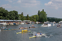 """Henley on Thames, United Kingdom, 8th July 2018, Sunday, Final, """"Prince Albert Challenge Cup"""", Final, Left, """"Goldie BC vs Winners, Imperial College BC"""",  """"Fifth day"""", of the annual,  """"Henley Royal Regatta"""", Henley Reach, River Thames, Thames Valley, England, © Peter SPURRIER,"""