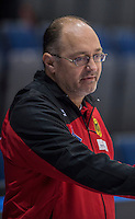 Glasgow. SCOTLAND. German, women's curling team Coach,  Thomas LIP'S, &quot;Round Robin&quot; Game. Germany vs Switzerland, Le Gruy&egrave;re European Curling Championships. 2016 Venue, Braehead  Scotland<br /> Thursday  24/11/2016<br /> <br /> [Mandatory Credit; Peter Spurrier/Intersport-images]