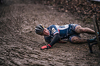 Francis Mourey (FRA) crashing<br /> <br /> Elite Men's Race<br /> UCI CX Worlds 2018<br /> Valkenburg - The Netherlands