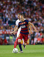 FC Barcelona´s  midfielder Andres Iniesta during the Final of Copa del Rey match between FC Barcelona and SevillaFC at the Vicente Calderon Stadium in Madrid, Sunday, May 22, 2016.