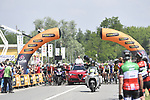 The start of Stage 18 of the 2018 Giro d'Italia, running 196km from Abbiategrasso to Prato Nevoso, Italy. 24th May 2018.<br />