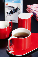 A retro red and white teacup and saucer