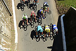 The peloton including race leader Fernando Gaviria (COL) Quick-Step Floors Yellow Jersey in action during Stage 2 of the 2018 Tour de France running 182.5km from Mouilleron-Saint-Germain to La Roche-sur-Yon, France. 8th July 2018. <br /> Picture: ASO/Pauline Ballet | Cyclefile<br /> All photos usage must carry mandatory copyright credit (&copy; Cyclefile | ASO/Pauline Ballet)