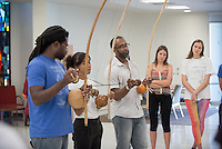 Assistant professor James Ford III holds a Capoeira Angola workshop with invited guests Contra Mestre Alcione Alves of Brazil and Contra Mestre Erik Murray of Chicago on Friday, Sept. 26, 2014 in Lower Herrick. The workshop, one of two, focused on the performative and poetic dimensions of Capoeira Angola and was open to students and staff. (Photo by Marc Campos, Occidental College Photographer)