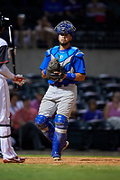 Midland RockHounds catcher Argenis Raga (8) during a game against the Arkansas Travelers on May 25, 2017 at Dickey-Stephens Park in Little Rock, Arkansas.  Midland defeated Arkansas 8-1.  (Mike Janes/Four Seam Images)