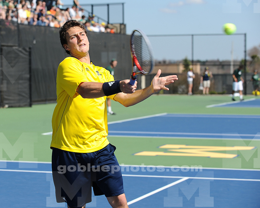 The University of Michigan men's tennis team shut out Michigan State, 7-0, at the Varsity Tennis Center in Ann Arbor, Mich., on March 17, 2012.