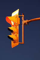 Traffic Signal - Red Illuminated Against Clear Dusk Sky