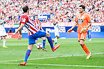 Atletico de Madrid's players Juanfran Torres and Kevin Gameiro and Deportivo de la Coruña's player Poroto Lux during a match of La Liga Santander at Vicente Calderon Stadium in Madrid. September 25, Spain. 2016. (ALTERPHOTOS/BorjaB.Hojas)