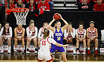 SIOUX FALLS, SD - MARCH 10: Megan Bultsma #50 of the South Dakota State Jackrabbits looks past defender Taylor Frederick #15 of the South Dakota Coyotes during the women's championship game at the 2020 Summit League Basketball Tournament in Sioux Falls, SD. (Photo by Richard Carlson/Inertia)