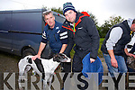 Jerry Reilly and kieran Culhane with Scentsy model at the Abbeydorney Coursing Club meeting on Sunday