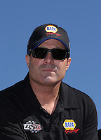 Feb. 14, 2013; Pomona, CA, USA; NHRA funny car driver Ron Capps during qualifying for the Winternationals at Auto Club Raceway at Pomona.. Mandatory Credit: Mark J. Rebilas-