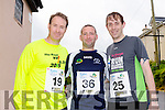 Kieran Greensmith, David Hughes and Liam Greensmith at the Run the Kingdom Camp 10 mile summer trail in aid of the The Irish Heart Foundation on Saturday