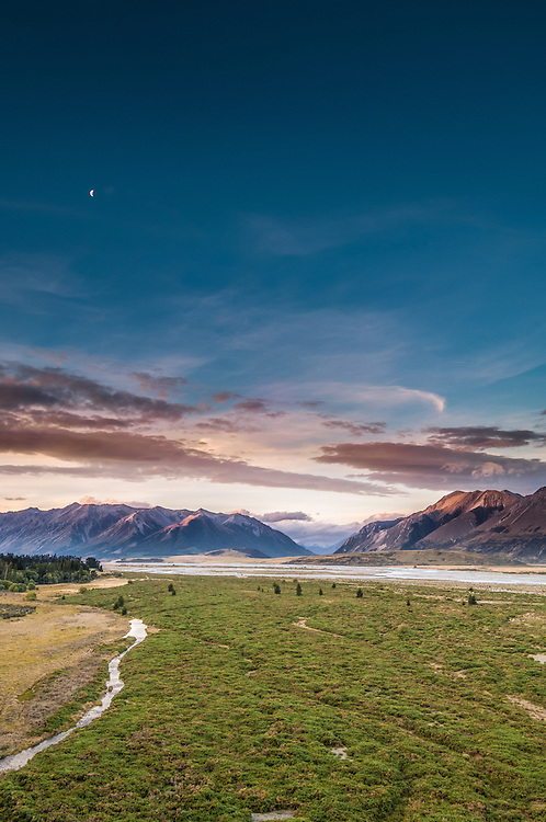 River flats & mountains at sunset, upper Rakaia River, Canterbury New Zealand. - stock photo, canvas, fine art print