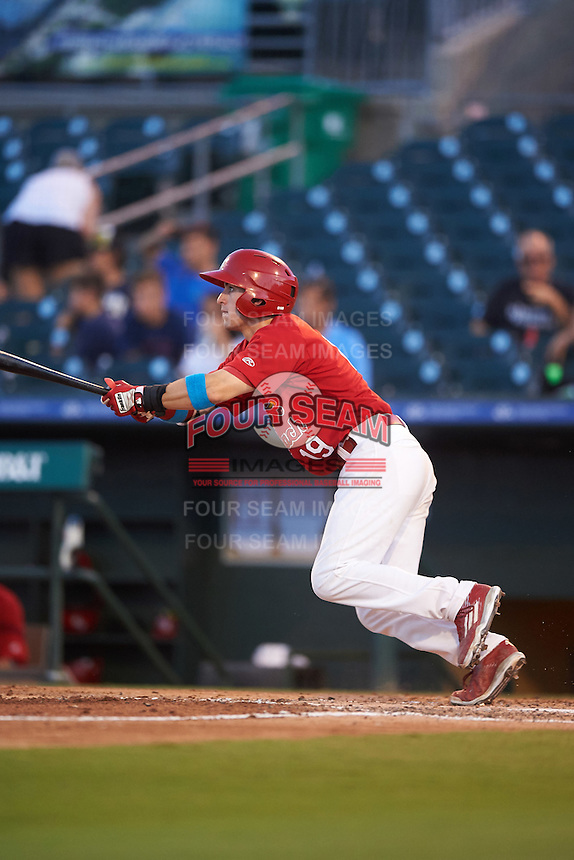 Palm Beach Cardinals designated hitter Michael Pritchard (19) at bat during a game against the Jupiter Hammerheads  on August 12, 2016 at Roger Dean Stadium in Jupiter, Florida.  Jupiter defeated Palm Beach 9-0.  (Mike Janes/Four Seam Images)