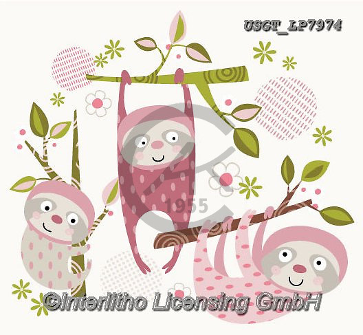 Lamont, GIFT WRAPS, GESCHENKPAPIER, PAPEL DE REGALO, paintings+++++,USGTLP7974,#gp#, EVERYDAY ,notebook,notebooks,sloth,sloths ,sticker,stickers