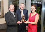 Pictured at the Limerick Sports Partnership Sports Awards were: Winner Mike Tierney presented by UL President Donn Barry and Neasa Fahy O Donnell<br /> Picture  Credit Brian Gavin Press 22