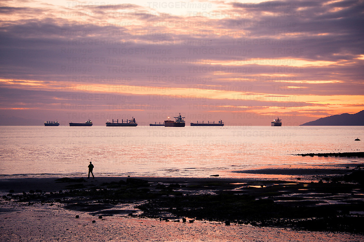 Tiny silhouetted person on the beach against purple and pink sunset, freighters in the distance.