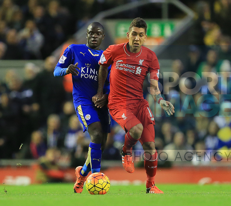 Liverpool's Roberto Firmino tussles with Leicester's N'Golo Kante<br /> <br /> Barclays Premier League- Liverpool vs Leicester City - Anfield - England - 26th December 2015 - Picture David Klein/Sportimage